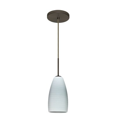 Chrissy 1-Light Pendant Finish: Bronze, Glass Shade: Chalk, Bulb Type: Incandescent or Xenon