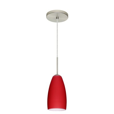 Chrissy 1-Light Mini Pendant Finish: Satin Nickel, Glass Shade: Ruby Matte, Bulb Type: Xenon or Incandescent