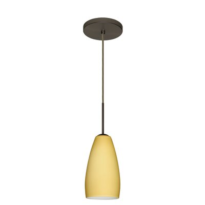 Chrissy 1-Light Mini Pendant Bulb Type: Xenon or Incandescent, Finish: Bronze, Glass Shade: Vanilla Matte