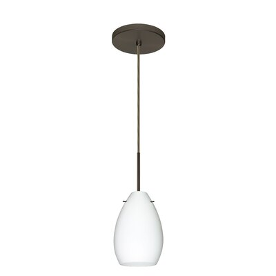 Pera 1-Light Mini Pendant Bulb Type: Incandescent, Finish: Bronze, Glass Shade: Opal Matte