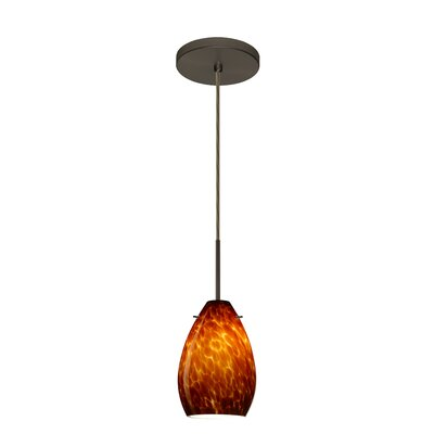 Pera 1-Light Mini Pendant Finish: Bronze, Glass Shade: Amber Cloud, Bulb Type: Incandescent