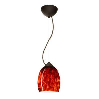Lucia 1-Light Mini Pendant Finish: Bronze, Shade Color: Garnet, Bulb Type: Incandescent