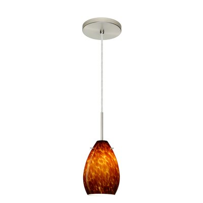 Pera 1-Light Mini Pendant Bulb Type: Incandescent, Finish: Satin Nickel, Glass Shade: Amber Cloud