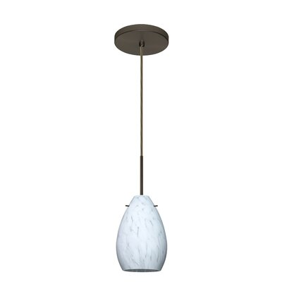 Pera 1-Light Mini Pendant Finish: Bronze, Glass Shade: Carrera, Bulb Type: Incandescent