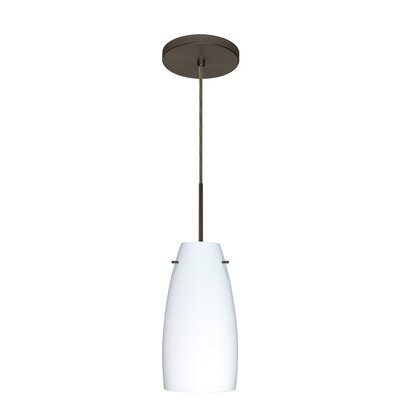 Tao 1-Light Pendant Finish: Bronze, Glass Shade: Opal Matte, Bulb Type: Incandescent