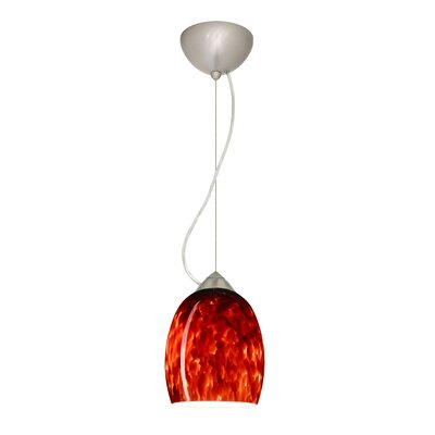 Lucia 1-Light Mini Pendant Shade Color: Garnet, Bulb Type: Incandescent, Finish: Satin Nickel