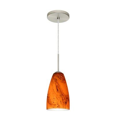 Riva 1 Light Pendant Finish: Satin Nickel, Glass Shade: Habanero, Bulb Type: LED