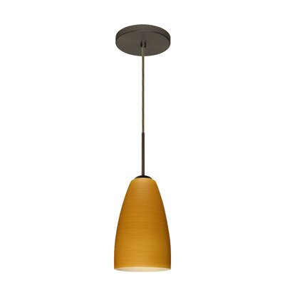 Riva 1 Light Pendant Finish: Bronze, Glass Shade: Oak, Bulb Type: Incandescent