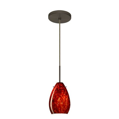 Pera 1-Light Mini Pendant Bulb Type: Incandescent, Finish: Bronze, Glass Shade: Garnet