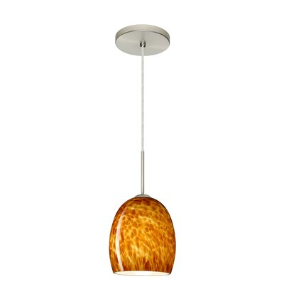 Lucia 1-Light Pendant Finish: Satin Nickel, Glass Shade: Amber Cloud, Bulb Type: LED