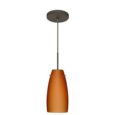 Tao 1 Light Pendant Finish: Bronze, Glass Shade: Amber Matte, Bulb Type: LED