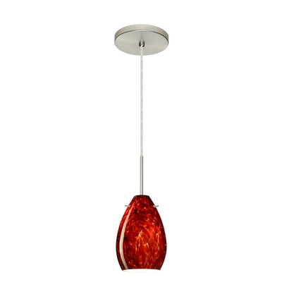 Pera 1-Light Mini Pendant Bulb Type: Incandescent, Finish: Satin Nickel, Glass Shade: Garnet