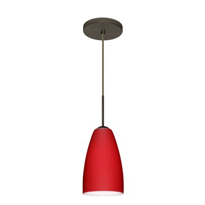 Riva 1-Light Pendant Finish: Bronze, Glass Shade: Cobalt Blue Matte, Bulb Type: LED