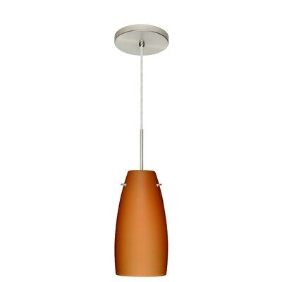Tao 1 Light Pendant Finish: Satin Nickel, Glass Shade: Amber Matte, Bulb Type: LED