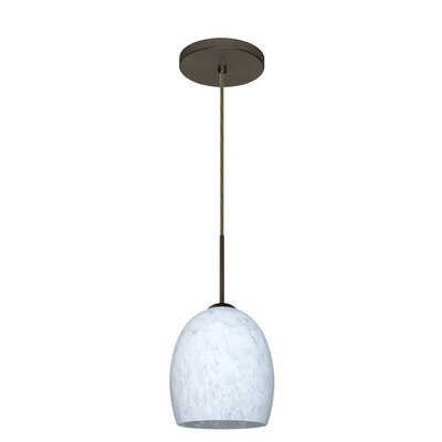 Lucia 1-Light Pendant Finish: Bronze, Glass Shade: Carrera
