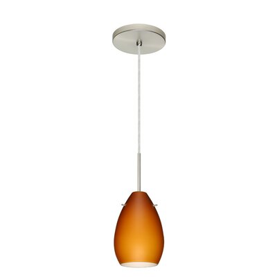 Pera 1-Light Mini Pendant Bulb Type: Incandescent, Finish: Satin Nickel, Glass Shade: Amber Matte