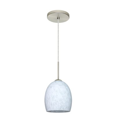 Lucia 1-Light Pendant Finish: Satin Nickel, Glass Shade: Amber Cloud, Bulb Type: Incandescent