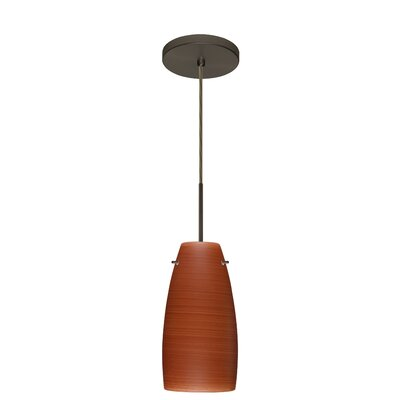 Tao 1-Light Pendant Finish: Bronze, Glass Shade: Cherry, Bulb Type: LED