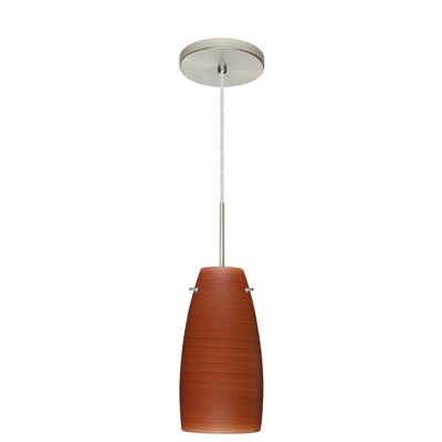 Tao 1-Light Pendant Finish: Satin Nickel, Glass Shade: Cherry, Bulb Type: Incandescent