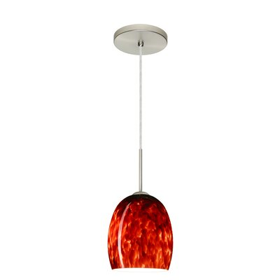 Lucia 1-Light Pendant Finish: Satin Nickel, Glass Shade: Garnet, Bulb Type: LED