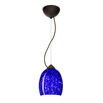 Lucia 1-Light Mini Pendant Finish: Bronze, Bulb Type: LED, Shade Color: Blue Cloud