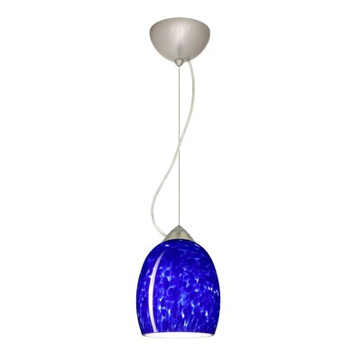 Lucia 1-Light Mini Pendant Finish: Satin Nickel, Shade Color: Blue Cloud, Bulb Type: LED