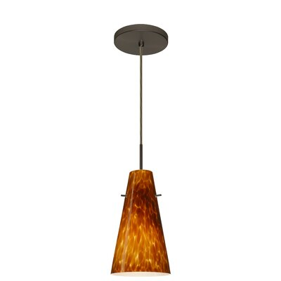 Cierro 1-Light Pendant Finish: Bronze, Glass Shade: Amber Cloud