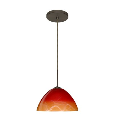 Tessa 1-Light Mini Pendant Finish: Bronze, Glass Shade: Solare