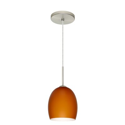 Lucia 1 Light Pendant Finish: Satin Nickel, Glass Shade: Amber Matte