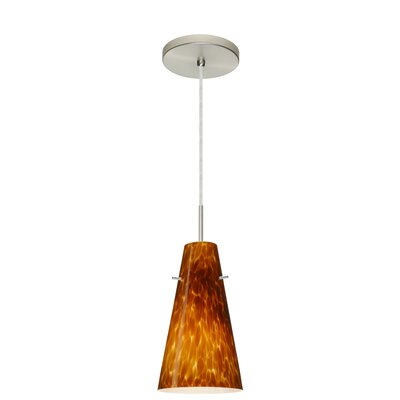 Cierro 1-Light Mini Pendant Finish: Satin Nickel, Glass Shade: Amber Cloud, Bulb Type: LED
