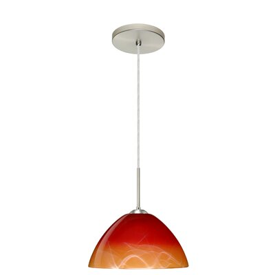 Tessa 1-Light Mini Pendant Finish: Satin Nickel, Glass Shade: Solare