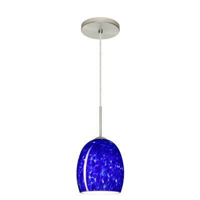 Lucia 1-Light Pendant Finish: Satin Nickel, Glass Shade: Blue Cloud, Bulb Type: LED