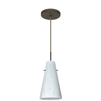 Cierro 1-Light Pendant Finish: Bronze, Glass Shade: Carrera