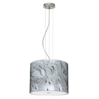 Tamburo 3 Light Drum Pendant Finish: Satin Nickel, Glass Shade: Marble Grigio, Bulb Type: LED