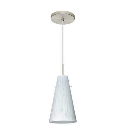 Cierro 1-Light Pendant Finish: Satin Nickel, Glass Shade: Carrera