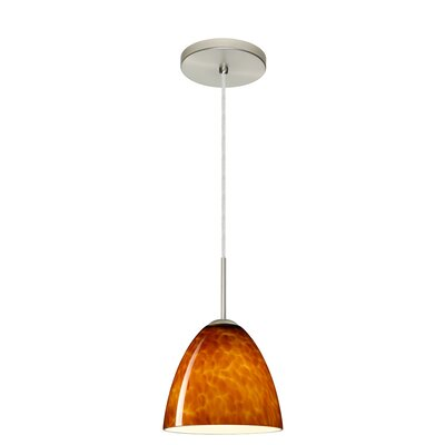 Vila 1-Light Pendant Finish: Satin Nickel, Glass Shade: Amber Cloud, Bulb Type: LED
