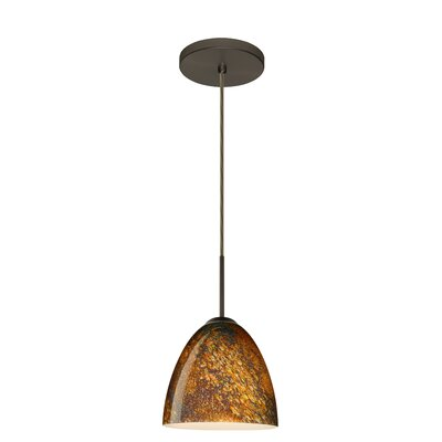 Vila 1-Light Pendant Finish: Bronze, Glass Shade: Ceylon