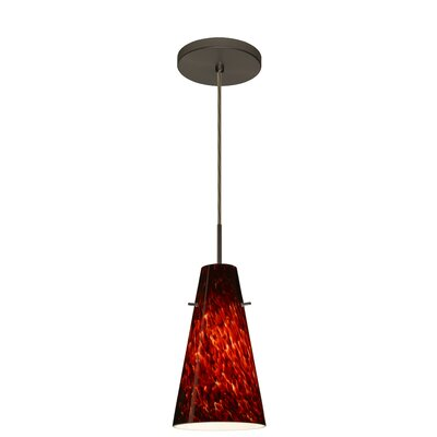 Cierro 1-Light Pendant Finish: Bronze, Glass Shade: Garnet