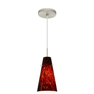 Cierro 1-Light Pendant Finish: Satin Nickel, Glass Shade: Garnet