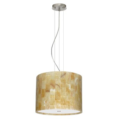 Tamburo 3-Light Drum Pendant Finish: Satin Nickel, Glass Shade: Mosaic Onyx, Bulb Type: LED