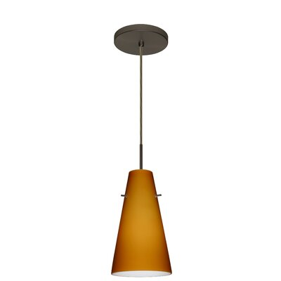 Cierro 1-Light Pendant Finish: Bronze, Glass Shade: Amber Matte