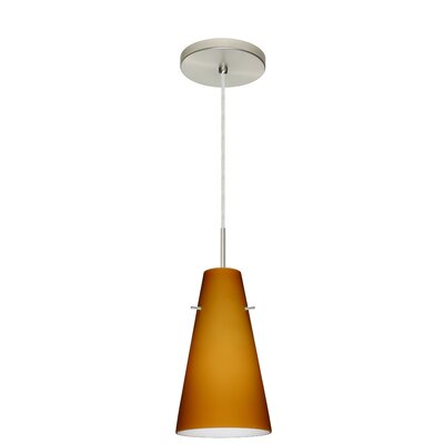 Cierro 1-Light Pendant Finish: Satin Nickel, Glass Shade: Amber Matte