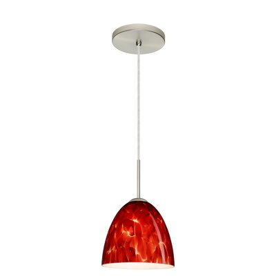 Vila 1-Light Pendant Finish: Satin Nickel, Glass Shade: Garnet, Bulb Type: LED