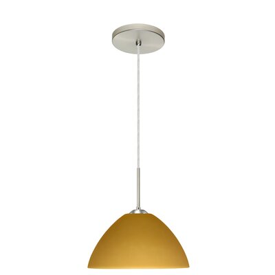 Tessa 1-Light Pendant Finish: Satin Nickel, Glass Shade: Amber Matte, Bulb Type: LED