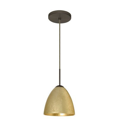 Vila 1-Light Pendant Finish: Bronze, Glass Shade: Gold Foil
