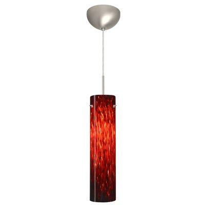 Stilo 1 Light Mini Pendant Finish: Satin Nickel, Glass Shade: Garnet, Bulb Type: LED