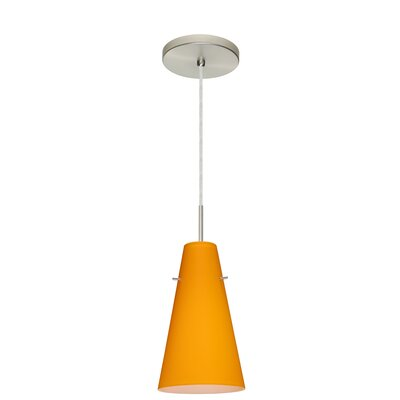 Cierro 1-Light Mini Pendant Finish: Satin Nickel, Glass Shade: Apricot Matte, Bulb Type: LED