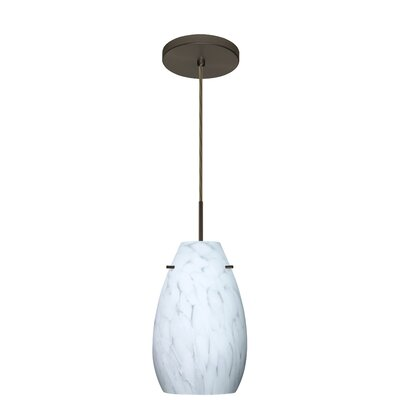 Pera 1-Light Pendant Finish: Bronze, Glass Shade: Garnet, Bulb Type: LED