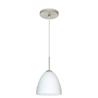Vila 1-Light Pendant Finish: Satin Nickel, Glass Shade: Opal Matte, Bulb Type: LED