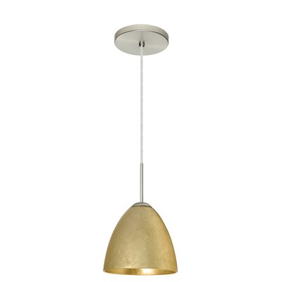 Vila 1-Light Pendant Finish: Satin Nickel, Glass Shade: Gold Foil